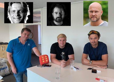 Atle Wester Larsen (fv), Daniel Austerheim og Ole Jacob Herft snakker med Vidar Henriksen, Kristian Bolstad og Jocke Jonsson.