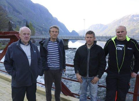 VIL HA KRAFTVERK: Kjell Magne Riise, Tor Henrik Mannsåker, Lars Arne Sandvin og Einar Riise i Nedre Oddadalen elveeigarlag. Heile laget har rundt 40 medlemmer.