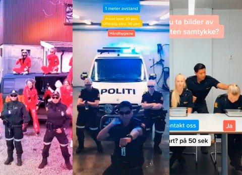 TIKTOK: Politiet i Sør-Vest sin nettpatrulje har en egen Tiktok-konto, der de både danser og informerer om viktige ting. Skjermgrab: Tiktok