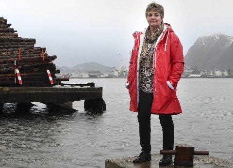 Her: Lokalpolitiker Berit Hundåla fra Hundåla er frustrert over at fylket nå kjører en ny runde om plassering av ferjekaia. Hun vil at den skal flyttes til hit, på Halsøy. Foto: Jon Steinar Linga
