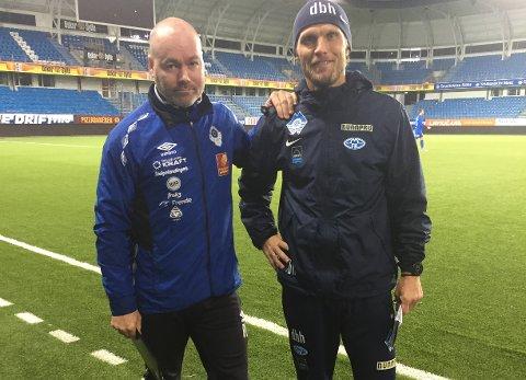 MIL-trener Richard Vestre sammen med Molde 2-trener Daniel Berg Hestad.