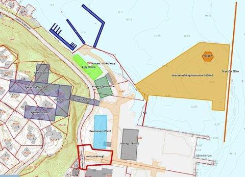 Planene: Utbyggingen er tenkt å starte med «proffhavn» (mørkeblått) og næringsbygg (grønt) på Stueren. Deretter kommer et eventuelt beredskapssenter og næringsbygg på Stilnestangen Nord. Utfylling for dypvannskai og en eventuell fjellhall ligger fram i tid.