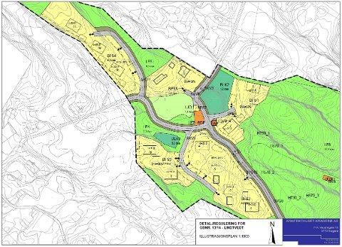 LINDTVEDT: De gule feltene på kartet viser områdene der de nye boligtomtene er plassert. I feltet BFS5 er det allerede bygninger, og det planlegges ingen nye der.