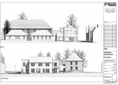FREDHEIM: Kulturskolebyggets fasader mot vest (over) og sør.