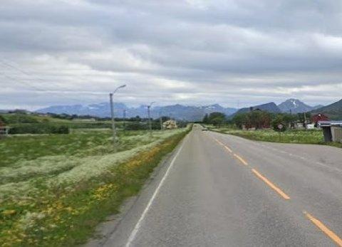 Strekning på E10 uten gang- og sykkelveg.