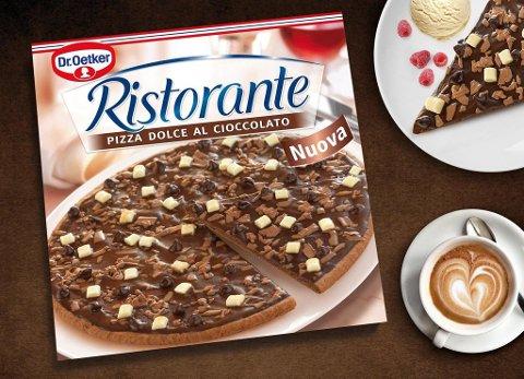 SJOKOLADEPIZZA: Dr. Oetker trekker sjokoladepizzaen de lanserte for noen måneder siden. Foto: Dr Oetker