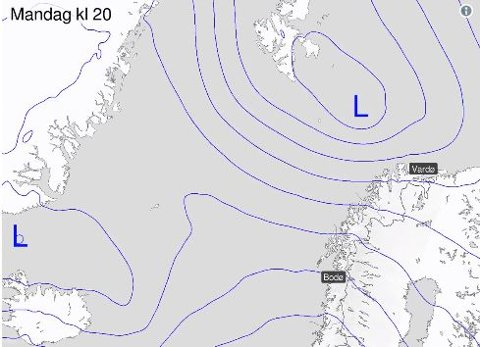 KALDT OG VÅTT: Det ene lavtrykket etter det andre vil treffe Nord-Norge de kommende dagene. Samtidig kommer det inn kaldere luftmasser over hele Skandinavia, som fører til temperaturfall i Nord-Norge.