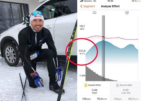 FARTSREKORD: Andreas Nygaard har satt ny rekord ned den beryktede bakken «Dreper'n» på strekningen fra Tønsvika via Skarvassbu til Tromsdalen. Treningsappen Strava viste en topphastighet på 103,6 kilometer i timen for Nygaard.