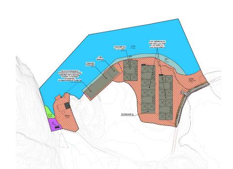 Skissen viser anleggets plassering på Litløya i Flatanger. Illustrasjon fra Bjørøyas korrespondanse med NVE.