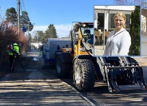 MYE: I fjor startet feingen litt senere, og det var mer grus å feie opp, forteller Heidi Tomten i Oppegård kommune. Bildet er fra vårrengjøringen i Valhallaveien i 2018.