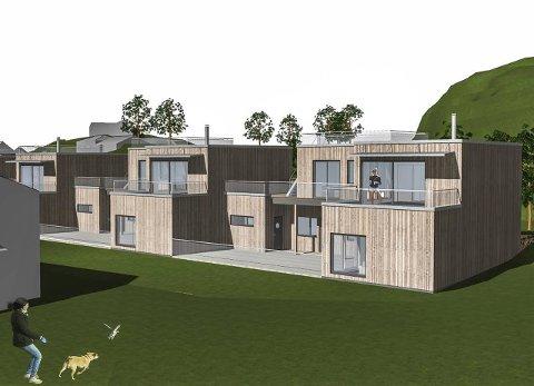 Flatt tak eller saltak? Tiltakshaver FG-Bolig AS ønsker å bygge hus i rekke med flate tak på Gartnerløkka i Rekkevik. Det gis det ikke rom for i reguleringsplanen for området. Nå vil utbyggerne vurdere om de skal gå en runde med en reguleringsprosess for å få tillatelse til omsøkt takform.Tegning: PV Arkitekter