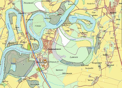 Dette kartet viser mulige verneområder som erstatning for områder som går tapt når Ringeriksbanen og E16 bygges. I tillegg kommer et område i Loreåsen ved Steinsfjorden. Mulige verneområder er markert med grått, mens eksisterende verneområder er skraverte.
