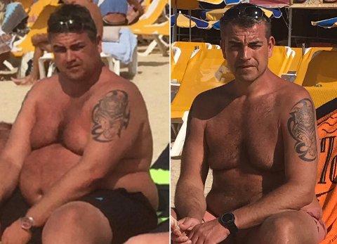 FØR OG NÅ: Even Kristoffersen fotografert på samme feriested med ett års mellomrom. Det syns at det er 67 kilo mellom bildene.
