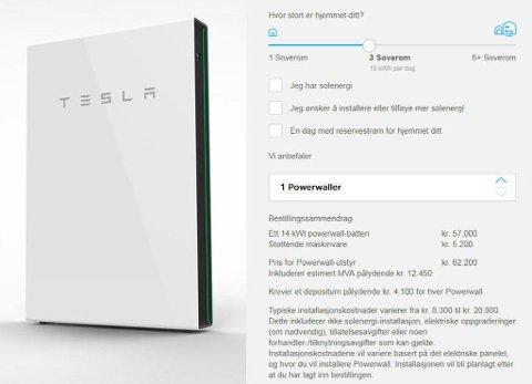 SVINDYRT: Et hjemmebatteri fra Tesla på 14 kWt koster i dag over 60.000 kroner. I tillegg kommer installasjonskostnadene. Skjermbilder / Tesla.com