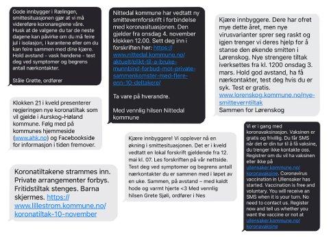 SMS: Her er et lite utvalg fra de mange meldingene som kommunen på Romerike har sendt ut til sine innbyggere i løpet av pandemien. Meldingene har inneholdt alt fra koronarestriksjoner til motiverende ord.