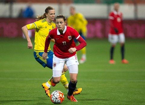 Nora Holstad Berge under kampen Norge-Sverige  (0-1) på Woudestein stadion.
