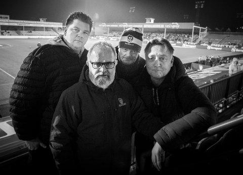 SA-PODDEN: Patrick Walther Larsen, Øistein Veberg, Bjørn Inge «Bingen» Nilsen og Petter Kalnes i SA-podden. Foto: Thomas Andersen