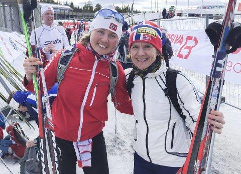 Slo mamma: Ingeborg Kristine Lind (t.v.) slo mamma Åse Brødholt med drøye 20 minutter.