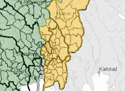 Det gule området viser fareområdet
