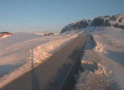 SOL: Tyinåsen i retning Årdal klokka 06.45 i dag. (Skjermdump: Vegvesenet)