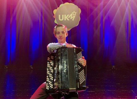 UNGT TALENT: Jacob Brekkhus Høgheim (13) imponerte og spelte feilfritt på trekkspel under UKM Vestland sin digitale fylkesfestival.