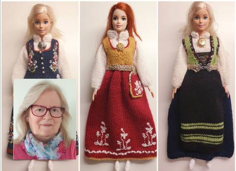 SMÅSTRIKK: De små bunadene blir gjort så troverdige som mulig av Anne Kristine Teigen.