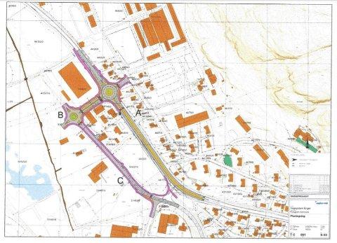 ENGERFELTET: Det nye Engerfeltet vil blant annet bestå av to rundkjøringer, gang- og sykkelveier, støyskjerm og busstopp.