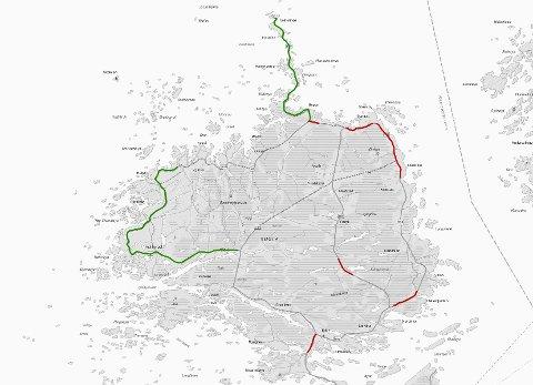 Den grønne streken viser hvor det skal lappes, mens den røde streken viser hvor det skal asfalteres. Illustrasjon: Statens vegvesen.