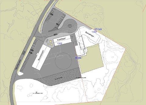 SITUASJONSPLAN: Denne skissen viser hvordan ny brannstasjon og kaldlager er tenkt bygd på Sætran.