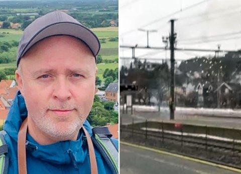 GNISTRINGER: Jon Stange Lunden fikk med seg hendelsen da Bane NOR prøvde å skru på strømmen på Sandefjord stasjon.