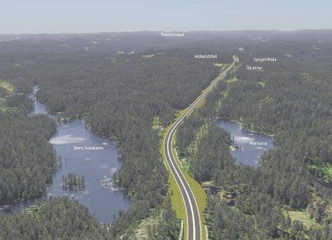 Hallandshei: Ligger på grensa mellom Tvedestrand og Vegårshei. De to kommunene står sammen om å jobbe for tunnel her. Foto Illustrasjon: Nye Veier
