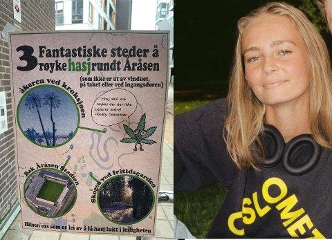 LEI: Linea Brännäs Nordby synes det er plagsomt at det kommer hasjlukt inn i leiligheten hun bor i.