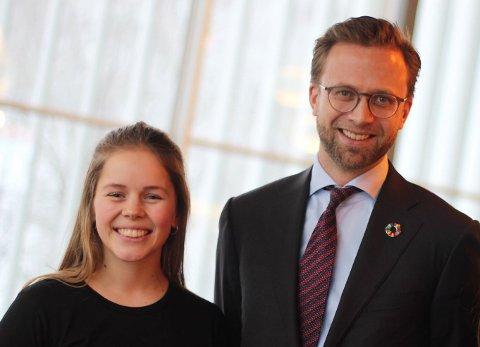 MØTTE MINISTEREN: Solveig Reppen Lunde fra Tønsberg møtte blant andre digitaliseringsminister Nikolai Astrup.