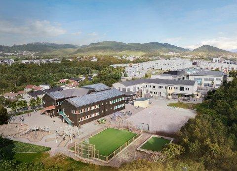 Den nye delen av skolen vil trolig stå klar i januar 2022.