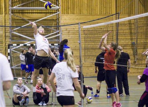 KLINER TIL: Eilev Bjerkerud tar sats og kliner til volleyballen under romjulsturneringen i Krødsheradhallen.