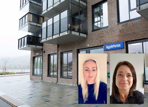 ÅPNER HER: Gjensidige åpner nytt lokalkontor her i Fjordbyen i desember, og blir nærmeste nabo til Bygdeposten. Damene som skal bemanne kontoret er Tone Grønvold og Linda Cecilie Teigland.