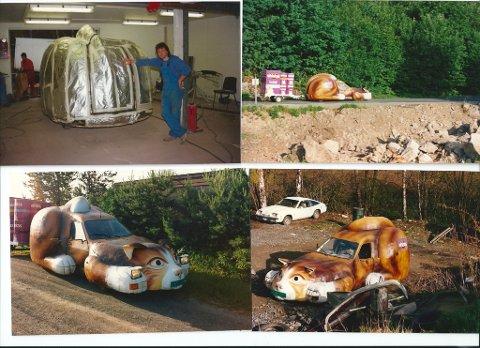 ORIGINAL: Slik så bilen ut da Rune Eriksen og makkeren var ferdige med den. Klar for veiene og alskens reklamestunt.