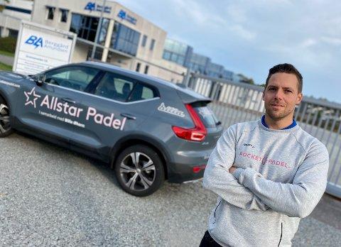NORGES STØRSTE: Markus Helle-Pettersson og Allstar Padel skal åpne Norges største padelpark i de gamle lokalene til Berggård Amundsen i Grenseveien i Ski.