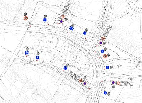 Deler av skiltplan for Kjensli på Flateby. Flere steder skal det skiltes parkering forbudt. For å sikre at skiltingen blir fulgt vil rådmannen innføre kommunal parkeringsmyndighet.