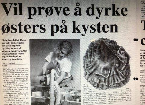 Faksimile av Firdaposten 1998: - Eirik Svardal har heile tida sett etter yrkesmoglegheiter i havet.