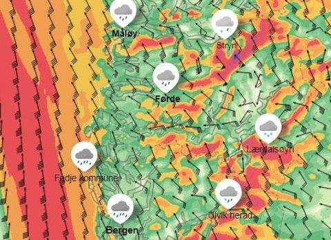 KRAFTIG VIND: Fjella og indre strok må sjå opp for kraftige vindkast tysdag.