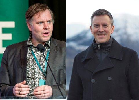 MEINER SP BLØFFAR: Venstre-topp og Stad-ordførar Alfred Bjørlo (venstre) meiner Erling Sande (høgre) i Senterpartiet bløffar om politireforma.