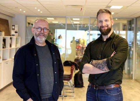 SAMARBEID: Ole Jonny Klopstad og Allan Madsen vert no kollegaer i Rein Design.