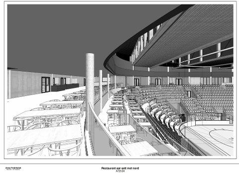 Slik kan det se ut når fremtidens VIP-publikummere i Arena Fredrikstad sitter og koser seg med middag samtidig som de ser på kamp. Bordene er satt opp i terrasser, slik at alle skal kunne se kampene mens de spiser.