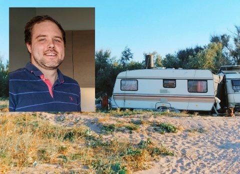 CAMPINGLIV: I to år bodde Tom Vegard Skasberg i campingvogn for å kunne spare penger.