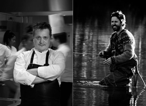 """KOKKER I NY BOK: Martin Jönsson (til høyre) og Vegard Stormo er kjøkkensjefer på hvert sitt hotell i Narvik. Nå har de fått hvert sitt kapittel i den nye kokeboken """"Catch and cook"""" fra forfatter Leif Milling, som vant bøkenes Oscar for sin forrige bok."""
