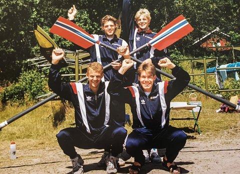 RENT BORD: Tre NM-gull I JUNIORKLASSEN ble det på kvartetten Ole Christian Nord Pettersen(bak f.v.), Vidar Dyblie, Olaf Tufte og Geir Lohne. bDe vnt også nordisk, der dette bildet er hentet fra.