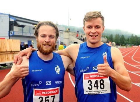 LIllehammer IFs Håkon Morken (t.h.) vant 200-meter i Veidekkelekene mens klubbkompis Tormod Hjortnæs Larsen ble femtemann.