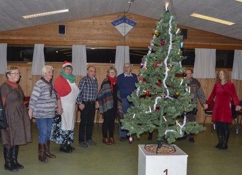 I FJOR: Det var rundt 30 personer til stede under juletrefesten. I stedet for å dele seg opp i flere ringer, lagde de like gjerne én stor ring med plass til alle som ville gå rundt treet.