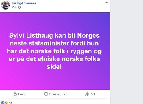 SKJERMDUMP: Dette er en av meldingene Per Egil Evensen (Frp) har lagt ut. Han sier han får reaksjoner, men ikke mer enn han må forvente.